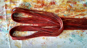 Gorgeous new threads in deep reds and purples with copper highlights. Yummy!