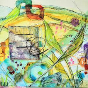 mixed media art on birch panel