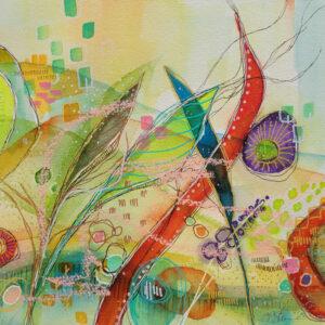 Gossip watercolor on panel